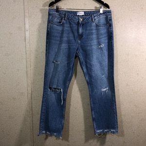 Mango Denim Destroyed Raw Hem Boyfriend Jeans